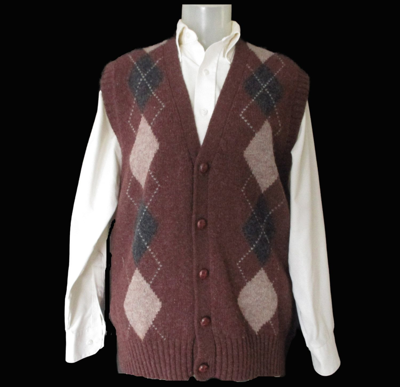 Men's Vintage Shetland Wool Sweater Vest - St. Edmonds Argyle Vest ...