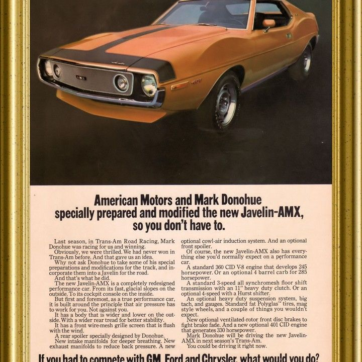 1970 1971 AMC Javelin AMX Mark Donohue Edition Trans Am Vintage Ad ...