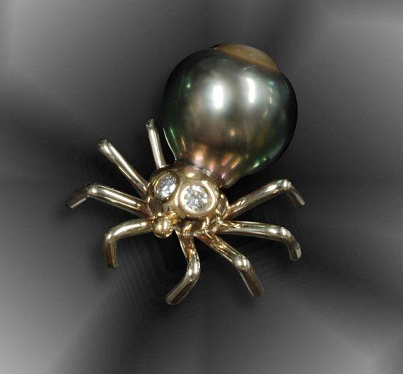 14K gold, Tahitian pearl and diamonds spider pin