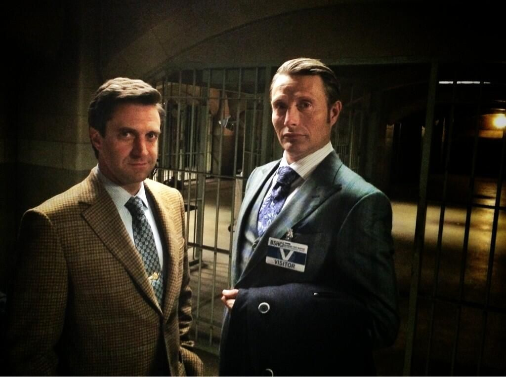 Twitter / BryanFuller. Doctor Doctor: Mads Mikkelsen and Raul Esparza Plot on the #HANNIBAL Set pic.twitter.com/OEQuZoC2mg
