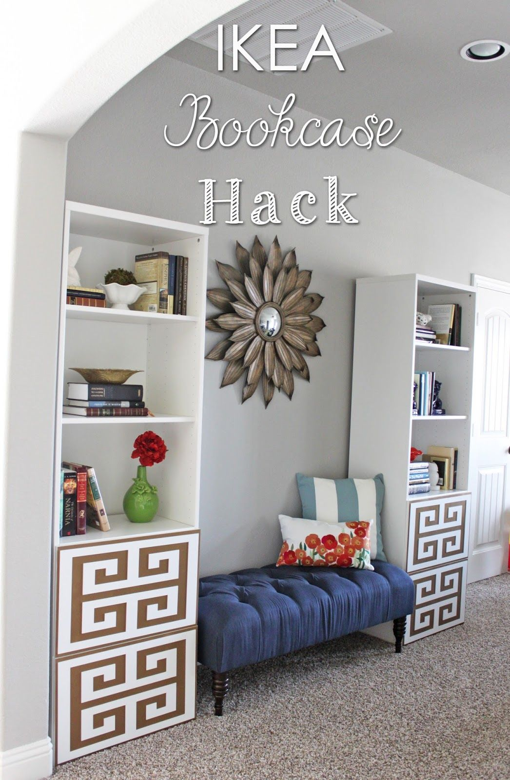 ikea bookshelf hack billy b cherregal mit t ren im griechischen stil ideas para el. Black Bedroom Furniture Sets. Home Design Ideas