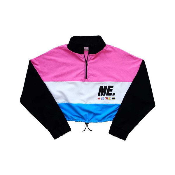 a737236b0 M.E. Crop Windbreaker Pink/Teal ($68) ❤ liked on Polyvore featuring  jackets, tops, outerwear, sweaters and cut-off