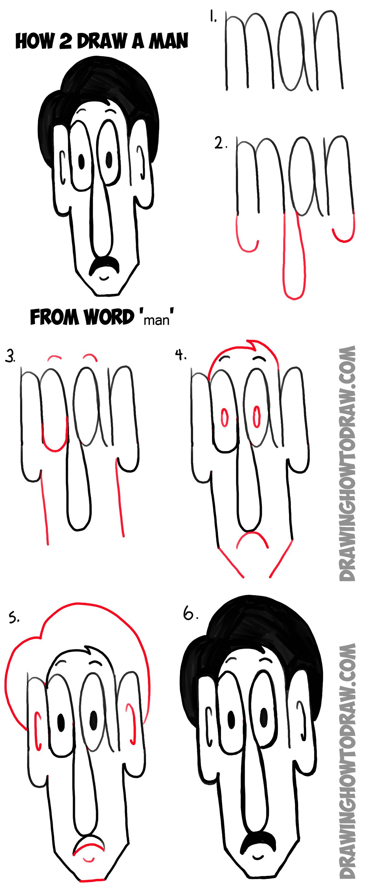 How To Draw Cartoon Man From The Word Simple Step By Drawing Tutorial For Kids Cool Crafts Men