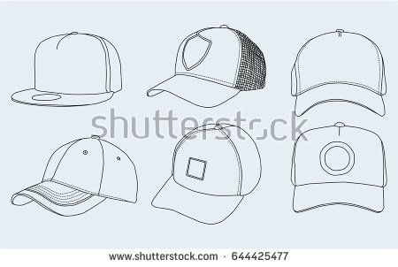 9aad98e9 Set, caps, vector, icon, sketch, drawn | 그림 (의) | Sketches, Cap ...
