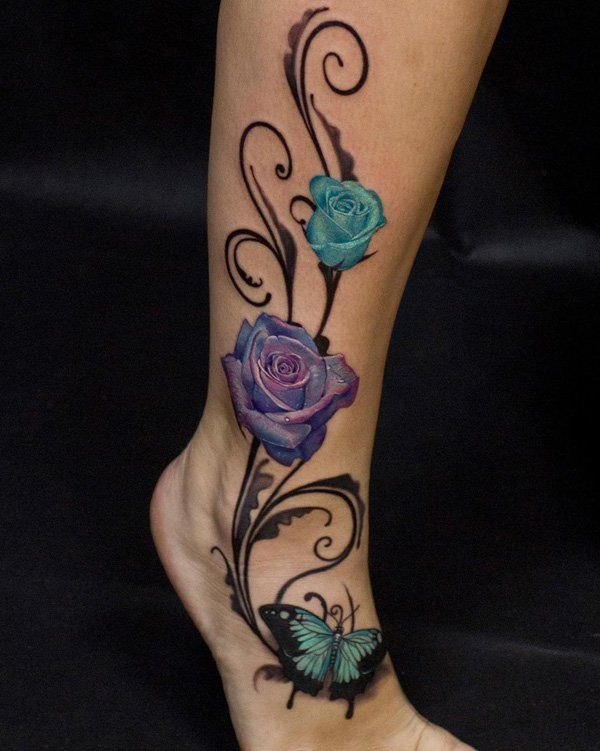 50 Amazing Calf Tattoos Cuded Rose And Butterfly Tattoo Leg Tattoos Leg Tattoos Women