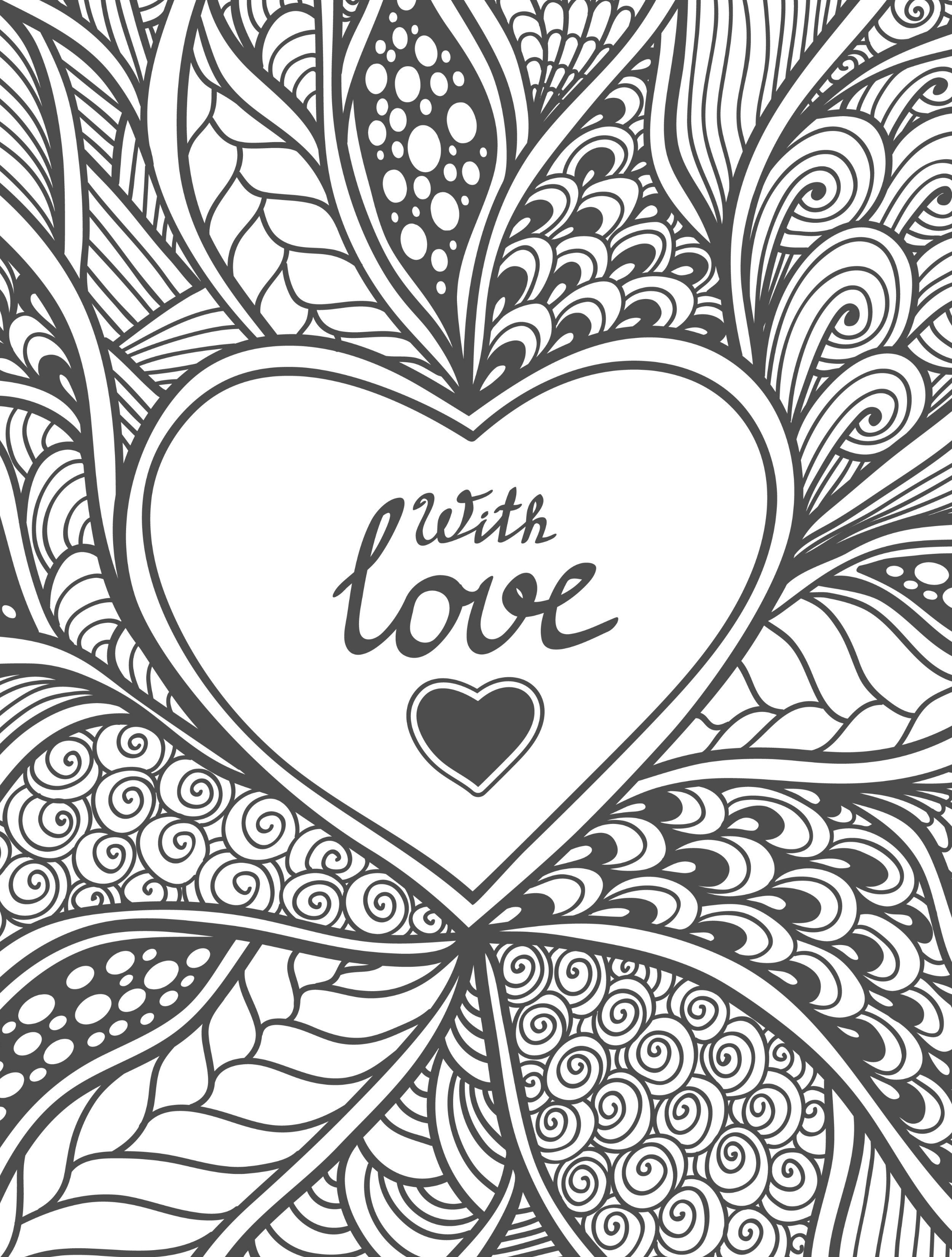 Heart Valentines Abstract Doodle Zentangle Paisley Coloring Pages