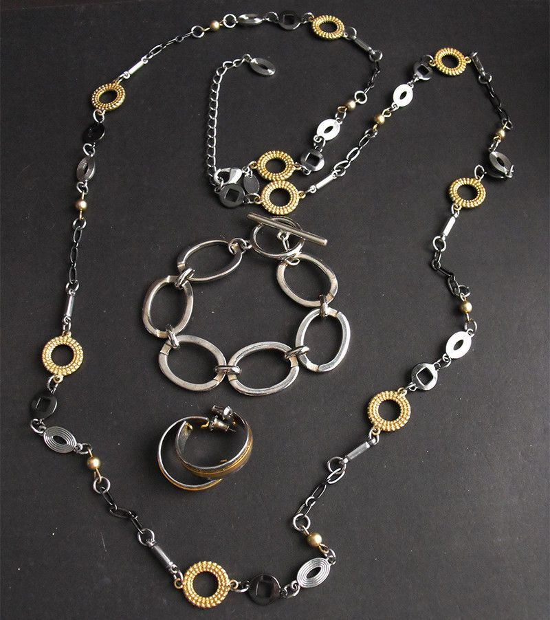 Lia sophia modernist mixed metals gold silver black necklace lia sophia modernist mixed metals gold silver black necklace bracelet earrings aloadofball