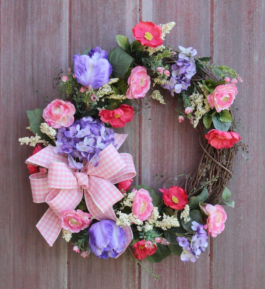 Summer wreath spring wreath baby girl wreath pink and lavender summer wreath spring wreath baby girl wreath pink and lavender wreat feminine wreath welcome wreath front door wreath grapevine rubansaba