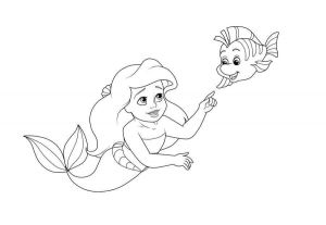 Baby Ariel With Flounder Coloring Page Ariel Coloring Pages Mermaid Coloring Pages Princess Coloring Pages