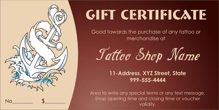Tattoo Shop Gift Card Gift Certificate Template Certificate Templates Printable Gift Certificate