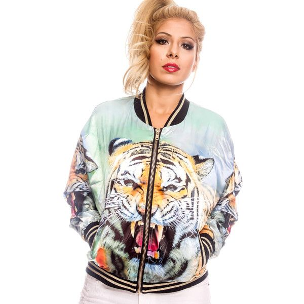 tiger print image design long sleeve bomber jacket ($33) ❤ liked on Polyvore featuring outerwear, jackets, tiger, long sleeve jacket, blouson jacket, tiger jacket, bomber jacket and zip jacket