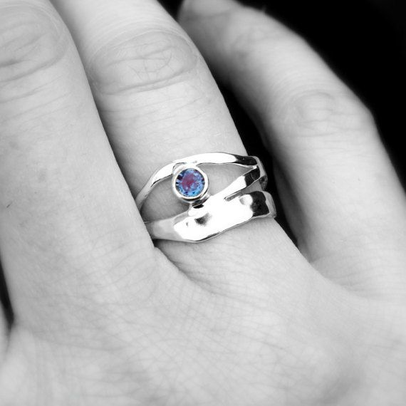 Colour Change Alexandrite Ring, Sterling Silver Alexandrite Organic Design Ring, Recycled Silver Ring, June Birthstone Ring, Elementisle  Truly beautiful and unique silver rings..... Using methods that allows the silver to flow and form its own design under heating means no two rings will ever be the same, ensuring you have a ring that is completely unique to you! And here in stunning Alexandrite, the birthstone for June.  Whilst I can ensure each ring has a similar shaping and design, due…