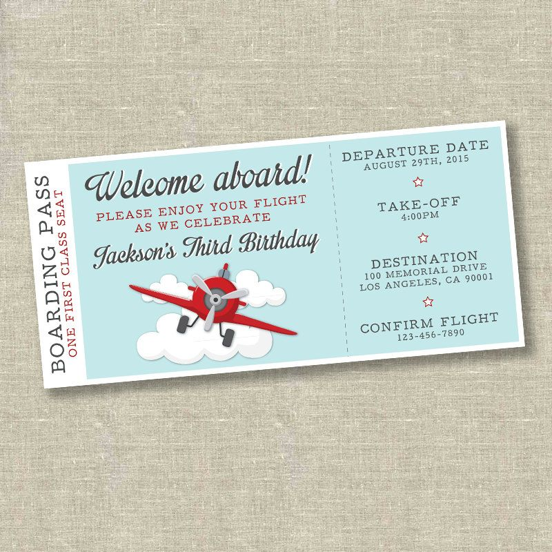 Airplane birthday invitation, airplane ticket invitation, plane - plane ticket invitation template