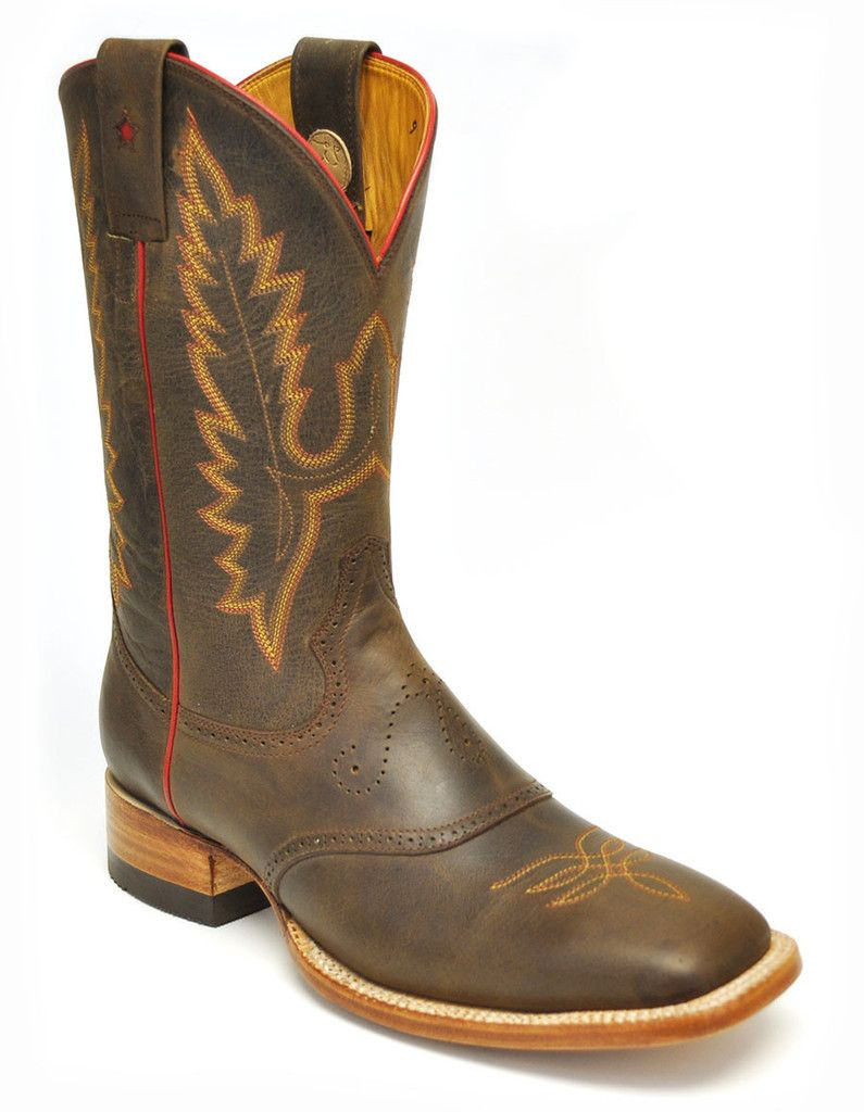 Gavel Crazyhorse Square Toe Rodeo Western Boots-Testa Brown