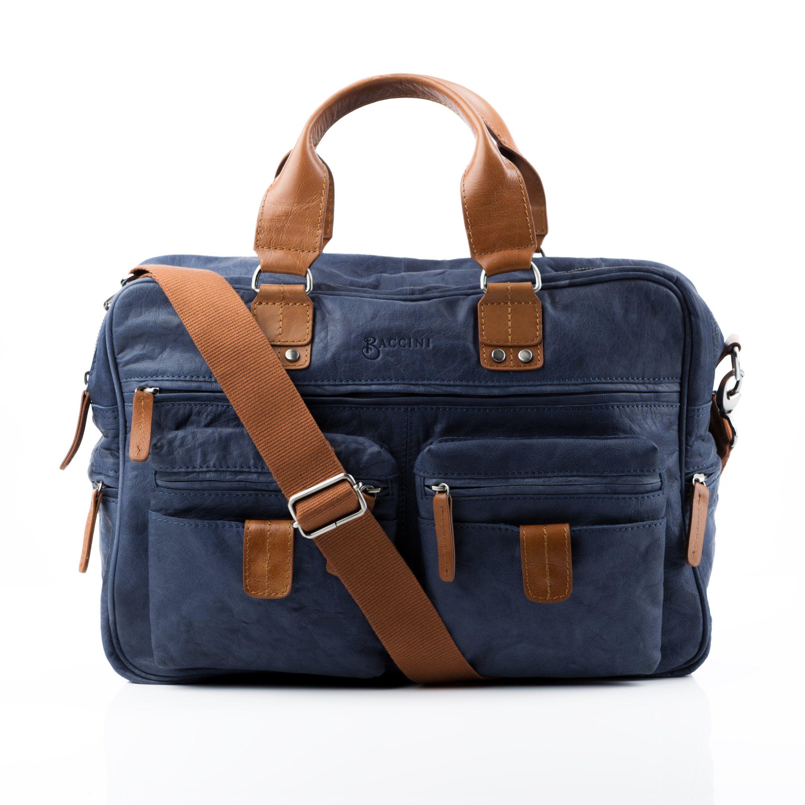 """BACCINI bolso de viaje DEREK - piel genuina Azul - cartera estilo weekender - bolsa deporte para tablet, iPad, 15"""", laptop (40 x 27 x 15 cm): Amazon.es: Equipaje"""