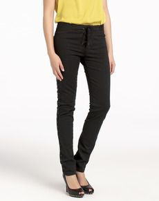 Black jeans with rivets and cord ~ Elogy    #jeans #black #style