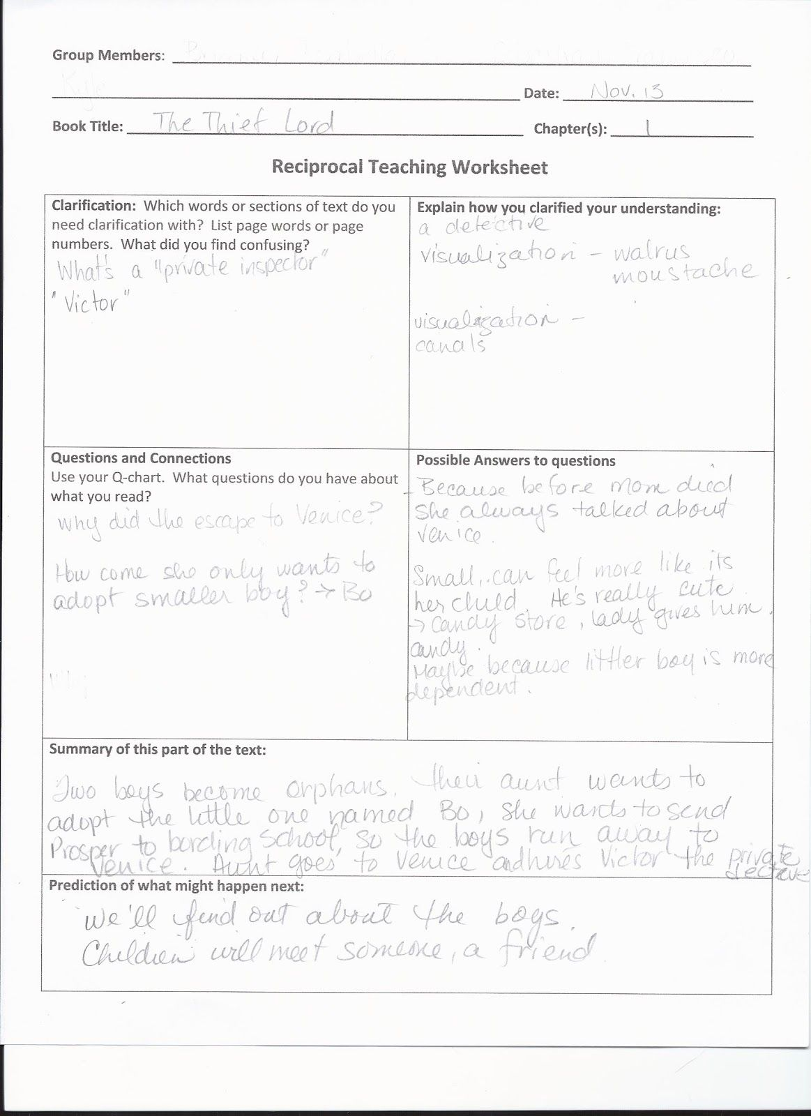 Image Result For Reciprocal Teaching Worksheet