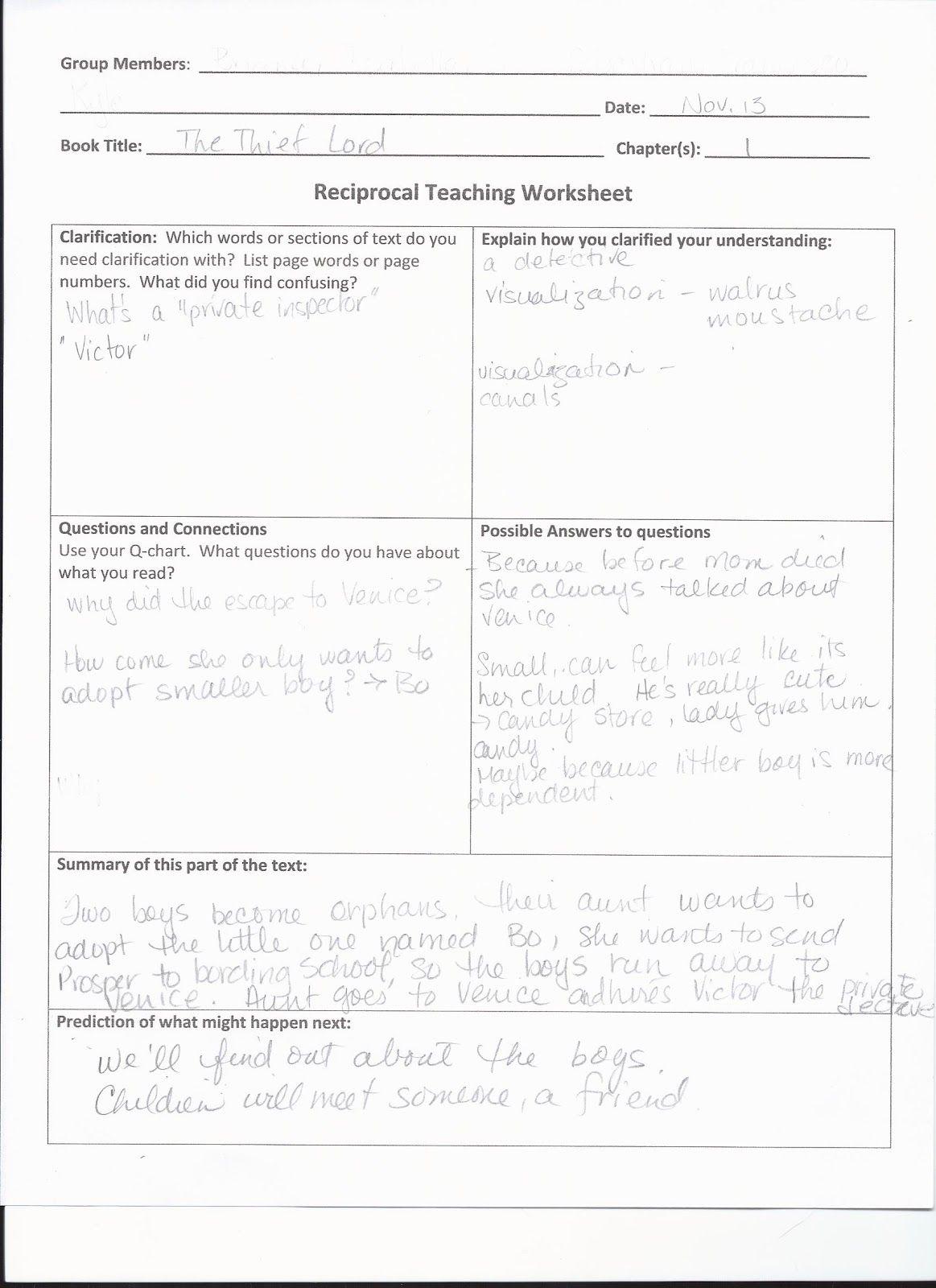 Image Result For Reciprocal Teaching Worksheet
