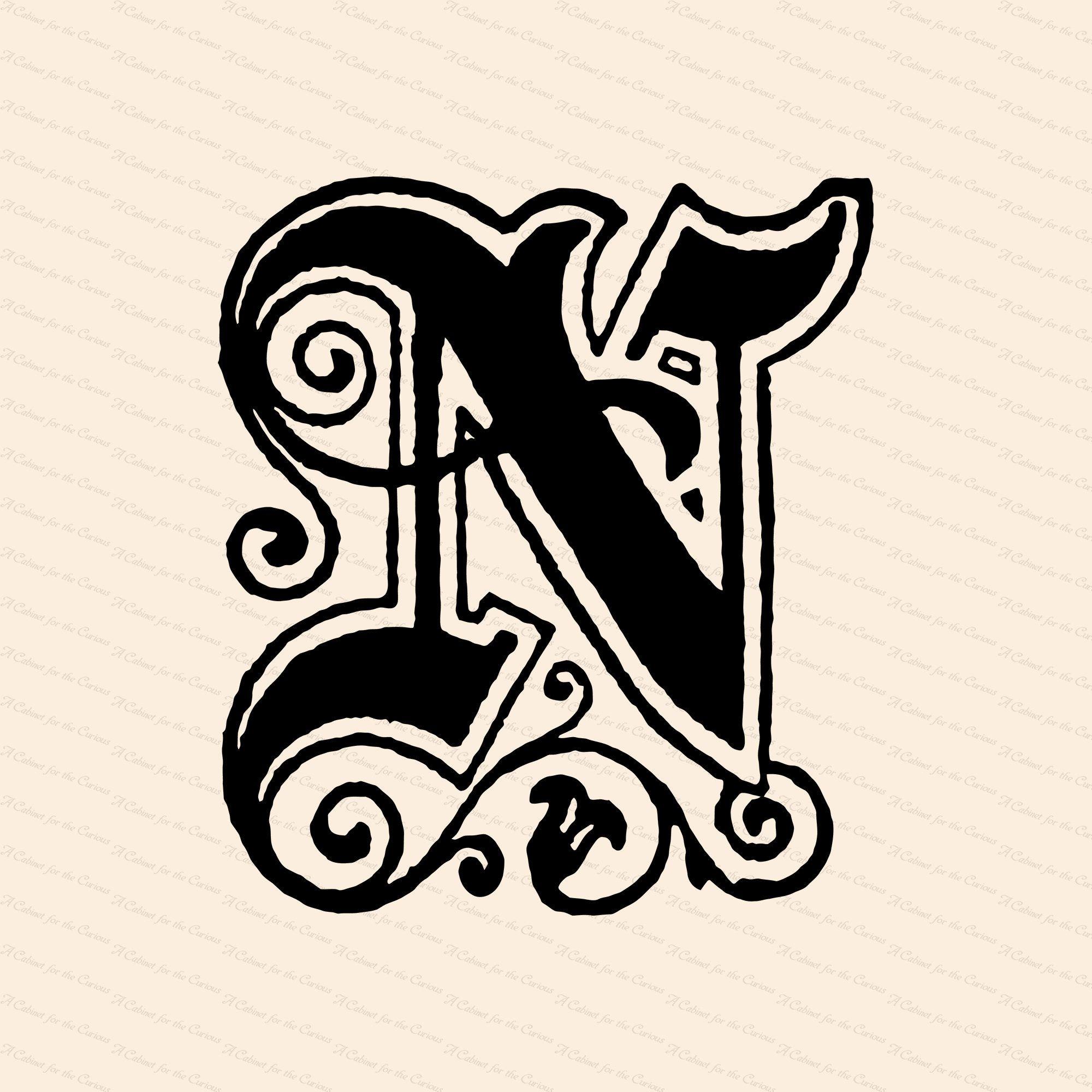 Ornamental Penwork Initial Letter N Vector Clipart Vintage Victorian Capital Letter N Antique Monogram Svg Png Jpg In 2021 Photo Collage Design Vintage Art Vintage Lettering