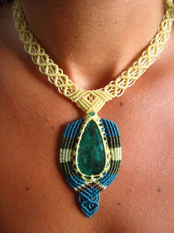 Chrysocolla Macrame Necklace Handmade with by PapachoCreations, $55.00