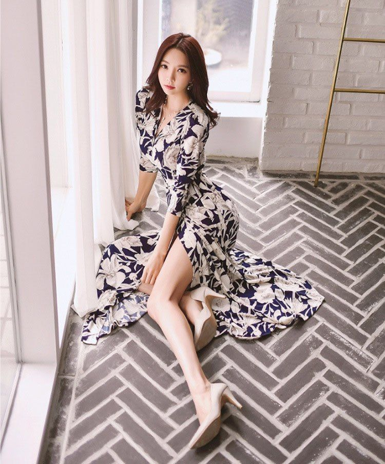 50827bccfd556 Spring Summer Women Bohemian Dress Floral Print Sexy V Neck High ...