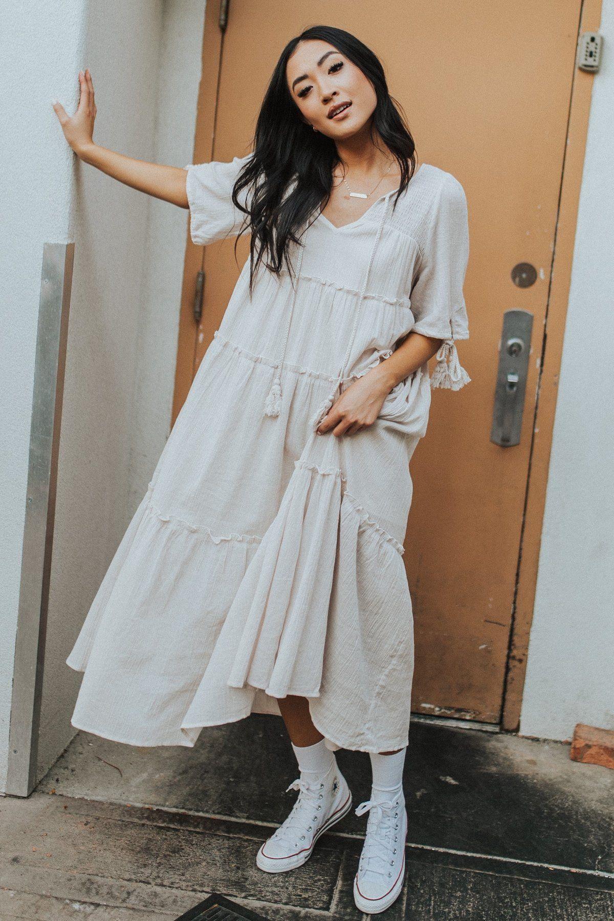 Chloe Dress In Natural In 2021 Chloe Dress White Flowy Dress Dresses [ 1799 x 1200 Pixel ]