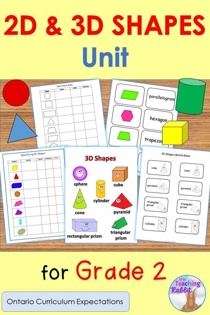 2D & 3D Shapes Unit for Grade 2 (Ontario Curriculum) | 3d shapes ...