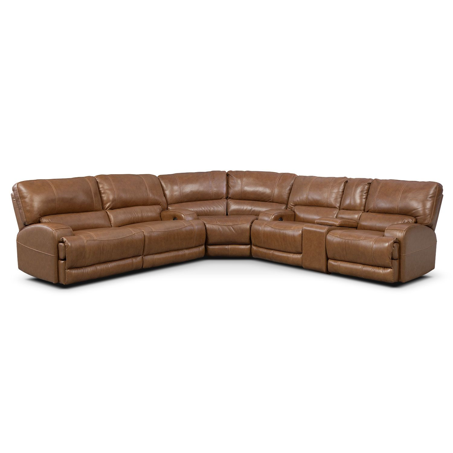 Living Room Furniture - Barton Camel 3 Pc. Power Reclining Sectional with Left-Facing  sc 1 st  Pinterest : 3 recliner sectional - Sectionals, Sofas & Couches