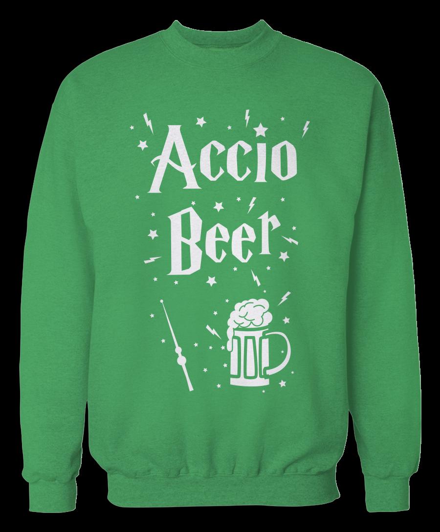 Accio Beer (Green) Witchcraft & Wizardry Sweatshirt #greenwitchcraft Accio Beer (Green) Witchcraft & Wizardry Sweatshirt #greenwitchcraft