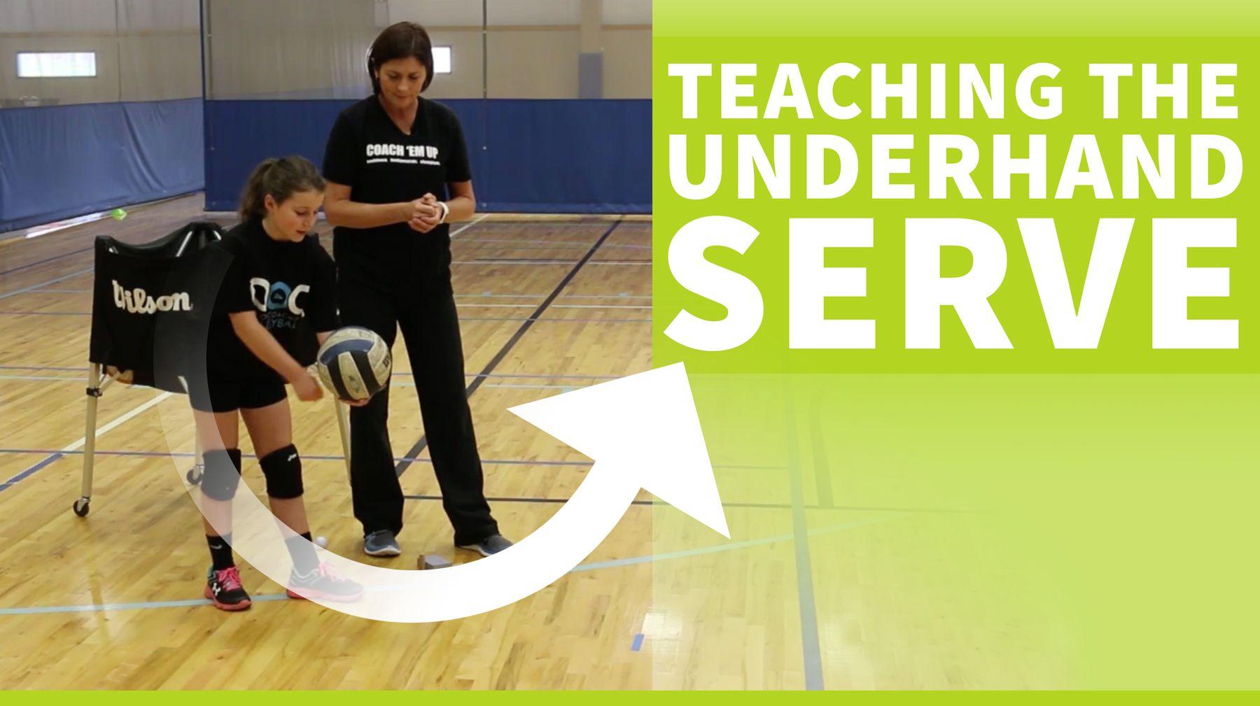 Teaching The Underhand Volleyball Serve Coaching Volleyball Volleyball Serve Volleyball Training