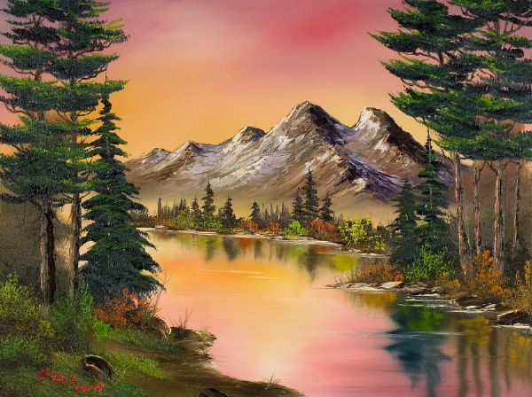 bob ross autumn fantasy paintings