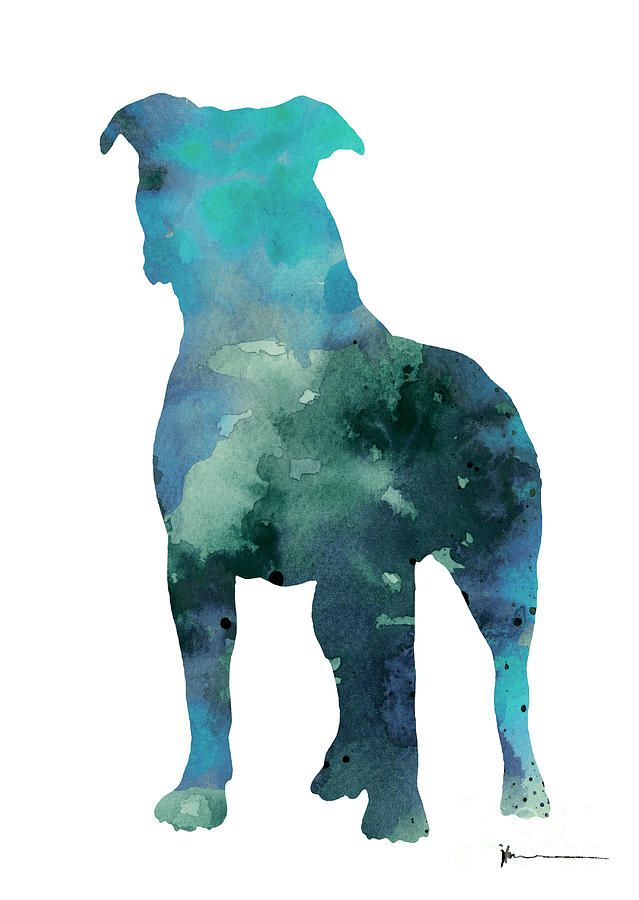 Blue Abstract Pitbull Silhouette In 2020 Pitbull Wallpaper Dog