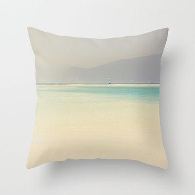 Troia Throw Pillow by ingz  #pillow #home #ingz #society6    #cushion #homedecor #sea #beach #ocean #aquah