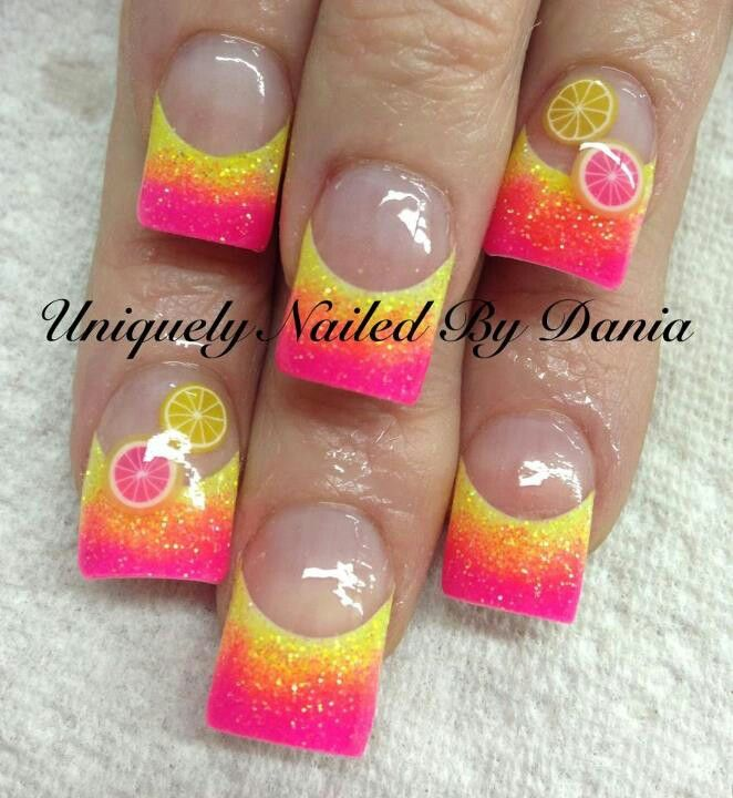 don\'t like the lemons but I like the colors together | Nails ...
