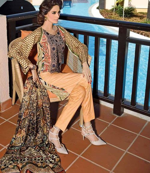 HSY Embroidered Lawn Suits 2015 H-010A