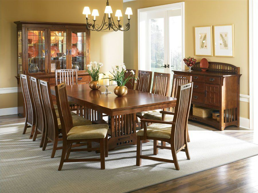 Broyhill Furniture Artisan Collection Mission Style Trestle Dining Table Set Item 5077 40 4218