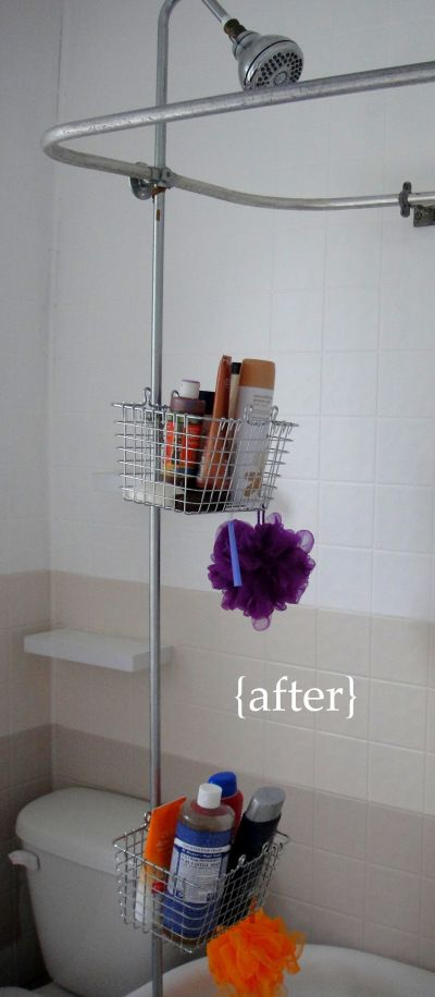 Bathroom Mini Renovation Part 3 Diy Shower Storage Shower Storage Diy Bathroom Storage Clawfoot Tub Shower