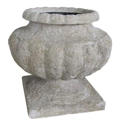 14.25 in. H Stone Roman Volcanic Ash Urn-PF6286VA at The Home Depot