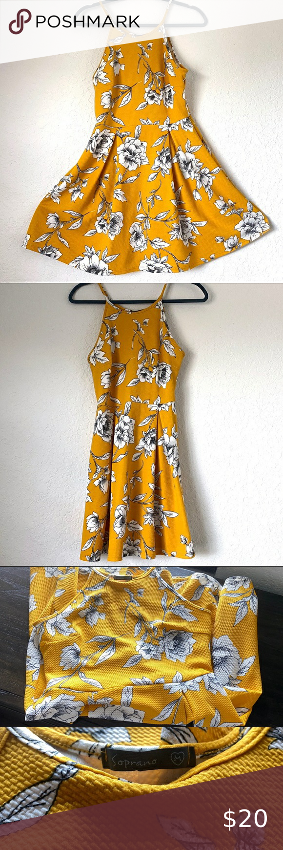 Yellow Floral A Line Dress Vibrant Mustard Yellow A Line Summer Dress Stretchy Breathable And Comfortable Wo Summer Dresses A Line Dress Floral Aline Dress [ 1740 x 580 Pixel ]