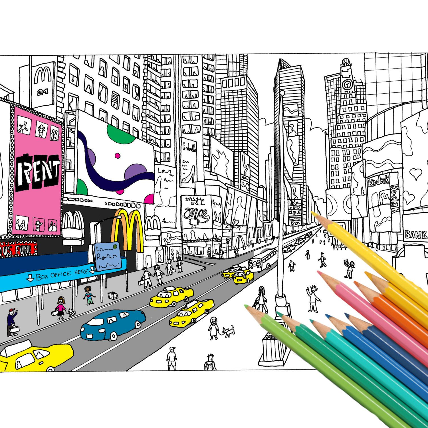 New York City, Adult Coloring Book, Adult colouring page, Adult ...