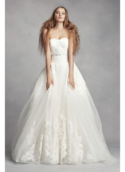 a74473e0998a White by Vera Wang Lace Ball Gown Wedding Dress VW351373 | Something ...