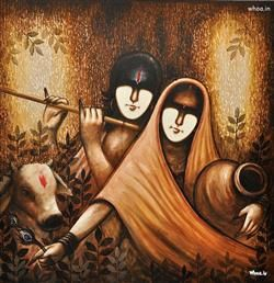 Lord Radhe Krishna Letest Hd Painting Wallpaper Indian Paintings