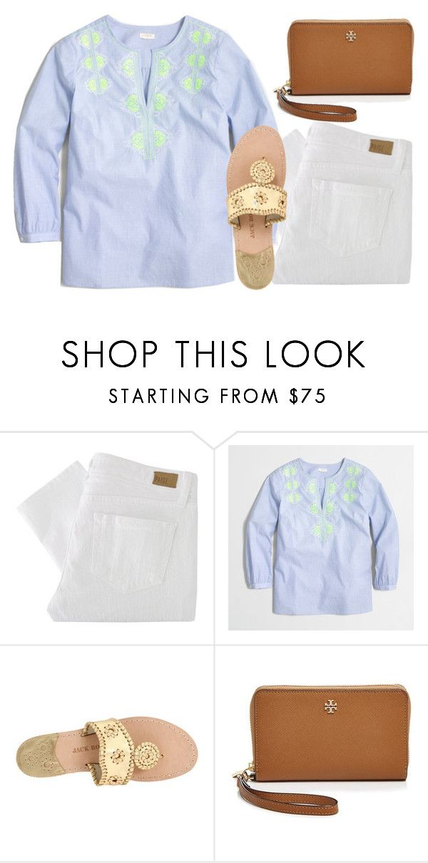 """This reminds me of Easter"" by ava-navarrrroo ❤ liked on Polyvore featuring moda, Paige Denim, J.Crew, Jack Rogers e Tory Burch"