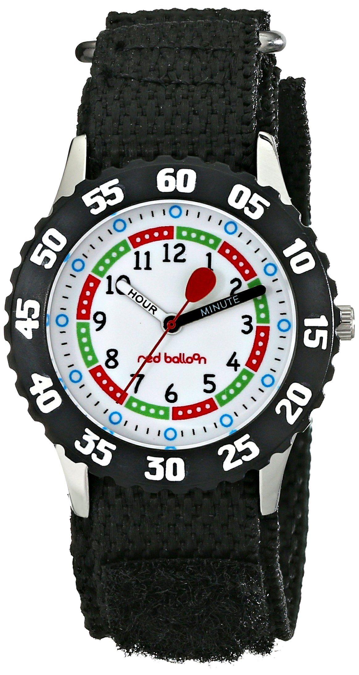 Amazon Com Red Balloon Kids W000176 Black Velcro Stainless Steel Time Teacher Watch Watches