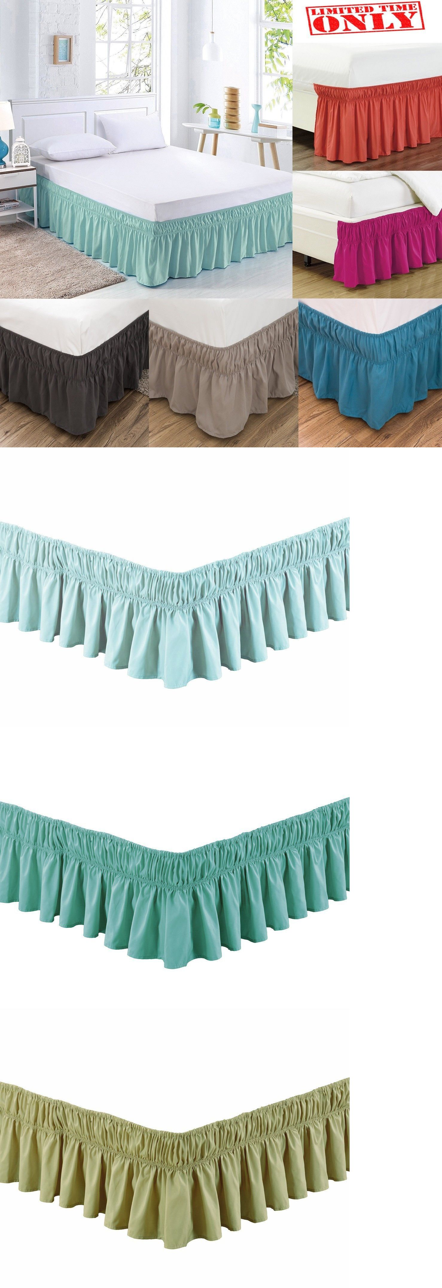 Elastic Bed Skirt Cover Dust Ruffle Wrap 14 Drop Twin Full Queen King 20 Colors Ebay Bed Skirt Ideas Modern Bed Skirt Ideas Diy Bedskirt
