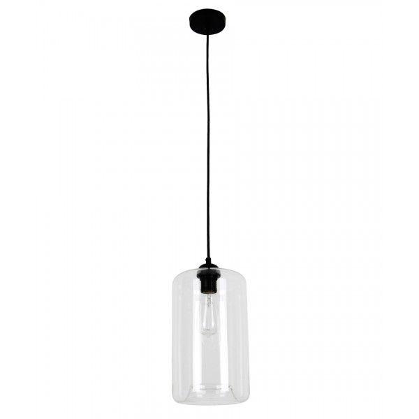 Jensen 1 Light Cylinder Pendant In Black/Clear
