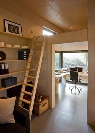 They Split The Office Ceiling Into A Loft Bedroom Space