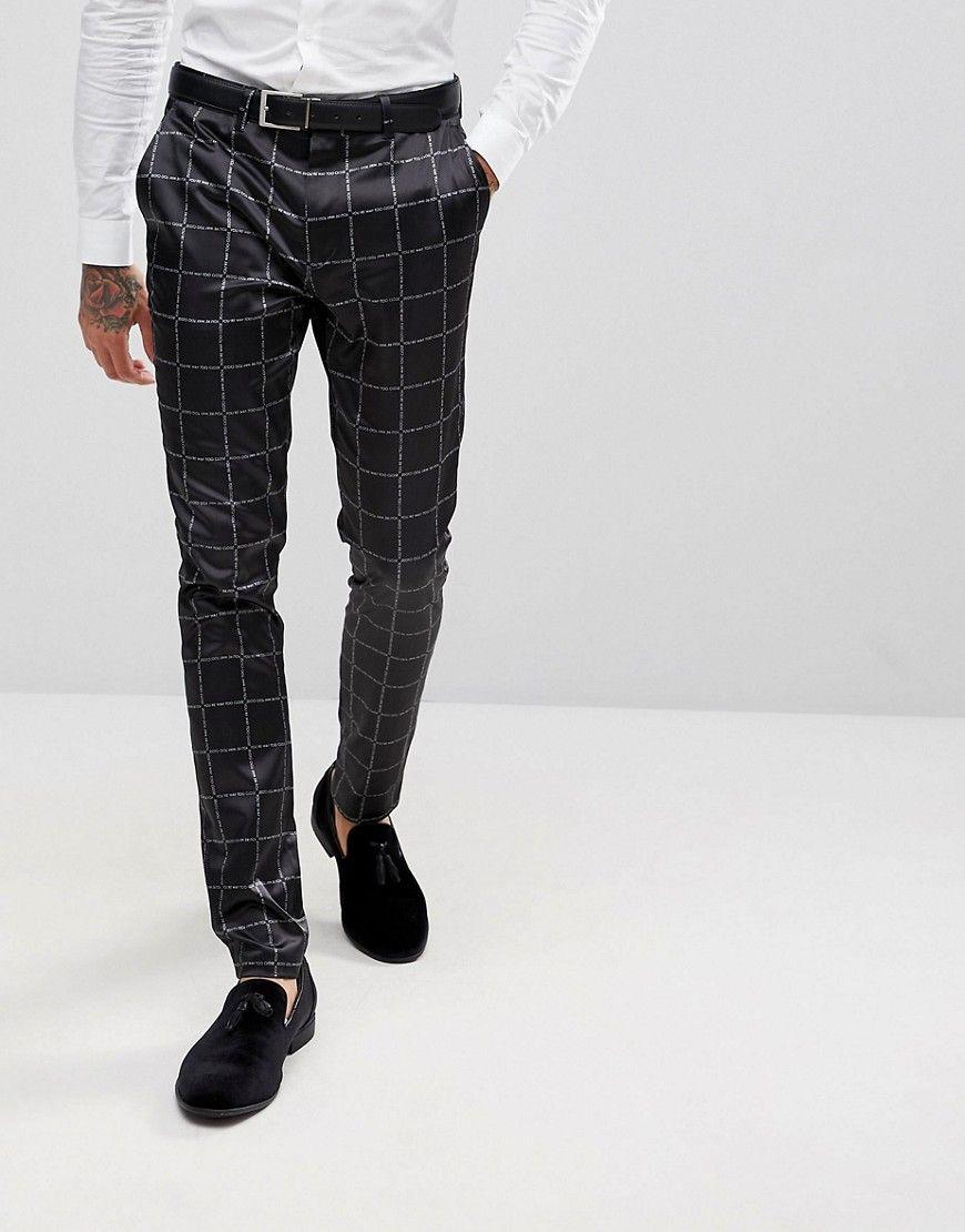 Asos Super Skinny Suit Pants In Printed Slogan Check Black Skinny Suit Pants Skinny Suits Pantsuit [ 1110 x 870 Pixel ]