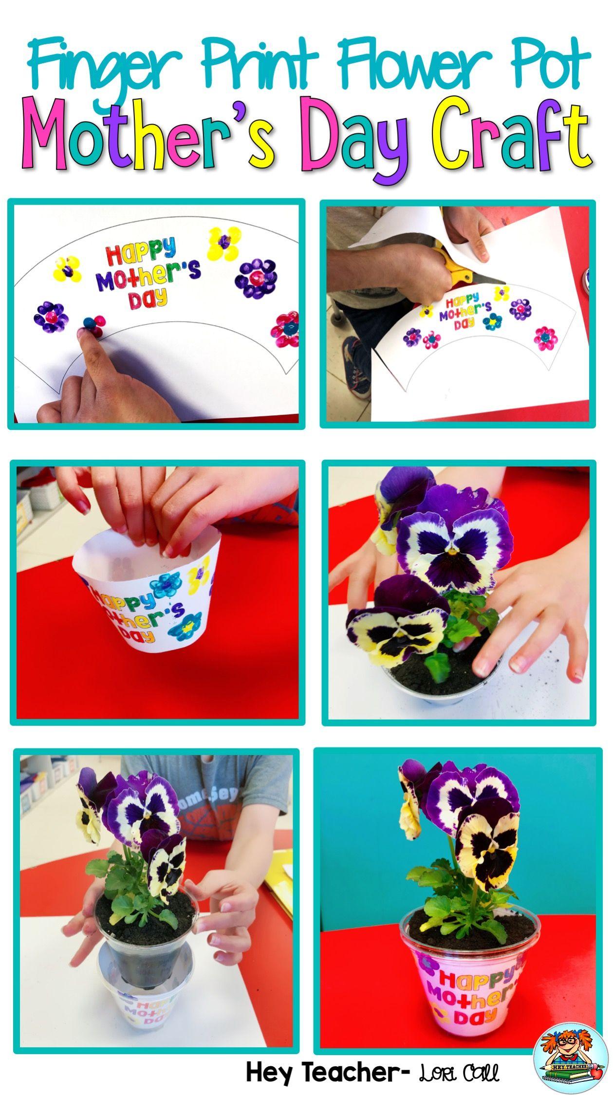Mother S Day Craft Finger Print Flower Pot