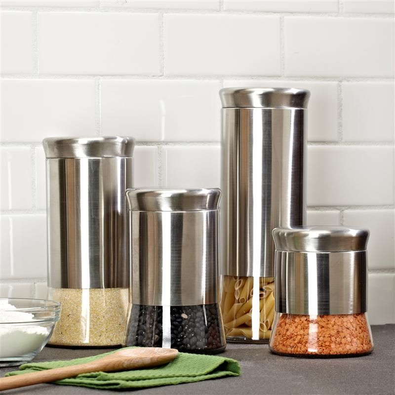 Ksp Silo Flared Canisters Set/4 .8 / 1.2 / 1.6 / 2 L